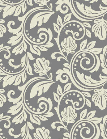 Floral pattern. Wallpaper baroque, damask. Grey ornament