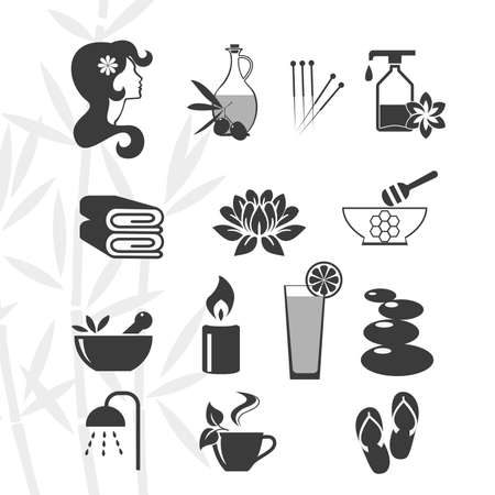 Black vector spa icons set on a white background.