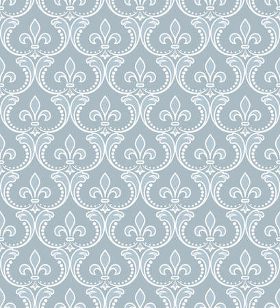 Wallpaper in the style of Baroque seamless vector background. White and blue floral ornament graphic vector pattern.