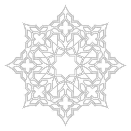 Decorative frame elegant vector element for design in Eastern style, place for text. Gray outline floral border. Lace illustration for invitations and greeting cards.