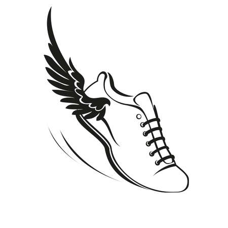 Sports shoes with a wing. Vector illustration. Vettoriali