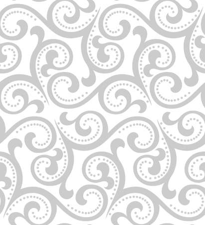 Floral pattern. Wallpaper baroque, damask. Seamless vector background. White and grey ornament. Stock Illustratie