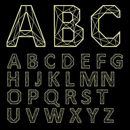 Vector Alphabet Set. Golden letters on a black background Illustration