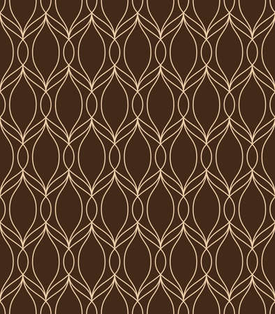 The geometric pattern with wavy lines. Seamless vector background. Brown and gold texture