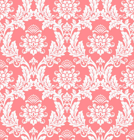 Floral pattern. Wallpaper baroque, damask. Seamless vector background. White and pink ornament  イラスト・ベクター素材