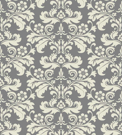 Floral pattern. Wallpaper baroque, damask. Seamless vector background. Grey ornament Çizim