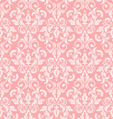 Floral pattern. Wallpaper baroque, damask. Seamless vector background. White and pink ornament Illusztráció
