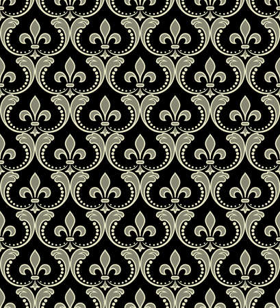 Floral pattern. Wallpaper baroque, damask. Seamless vector background. Black and gold ornament
