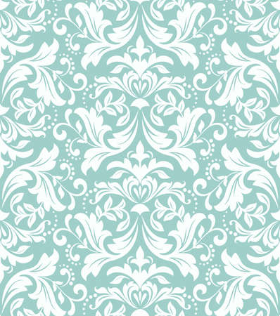 Floral pattern. Wallpaper baroque, damask. Seamless vector background. White and blue ornament