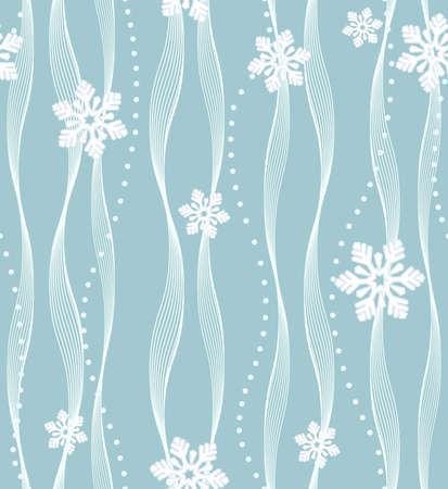 Geometric pattern with wavy lines, points. Seamless vector background. White and blue texture