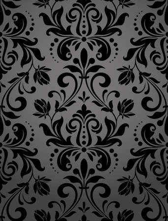 Floral pattern. Wallpaper baroque, damask. Seamless vector background. Black ornament Standard-Bild - 97574792