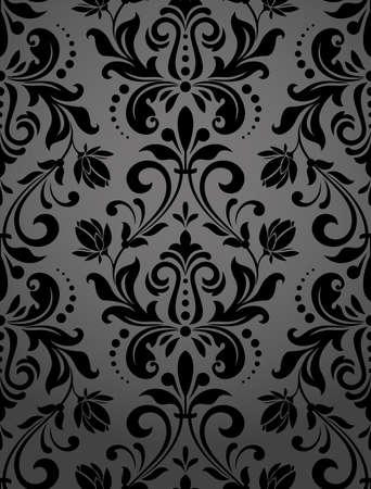 Kwiatowy wzór. Tapeta barokowa, adamaszek. Bezszwowe tło wektor. Czarny ornament