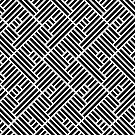 Abstraktes geometrisches Muster mit Streifen, Linien. Ein nahtloser Vektor Hintergrund. Weiße und schwarze Verzierung