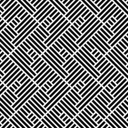 Motivo geometrico astratto con strisce, linee. Uno sfondo vettoriale senza soluzione di continuità. Ornamento bianco e nero