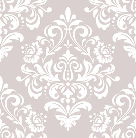 Wallpaper in the style of Baroque. A seamless vector background. White and pink floral ornament. Graphic vector pattern Vectores