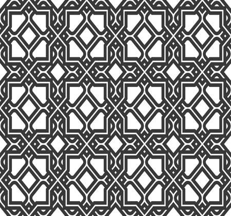 Abstract geometry pattern in Arabian style. Seamless vector background. White and black graphic ornament