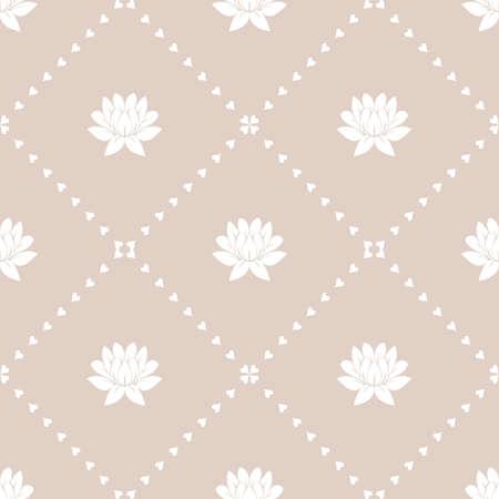 花の幾何学模様。シームレスなベクトルの背景。白とピンクの装飾