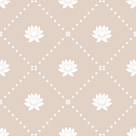 Flower geometric pattern. Seamless vector background. White and pink ornament Ilustração