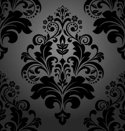 Floral pattern. Wallpaper baroque, damask. Seamless vector background. Black ornament