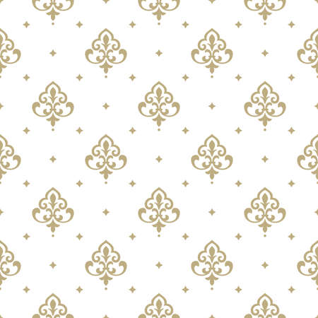 Wallpaper in the style of Baroque. A seamless vector background. White and gold floral ornament. Graphic vector pattern