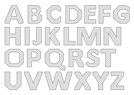 Vector Alphabet Set. Gray letters on a white background.