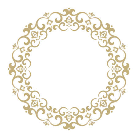 Decorative frame elegant vector element for design in eastern style, place for text. Golden outline floral border. Lace illustration for invitations and greeting cards.