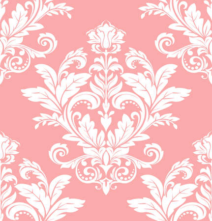 Floral pattern. Wallpaper baroque, damask. Seamless vector background. Pink and white ornament Çizim