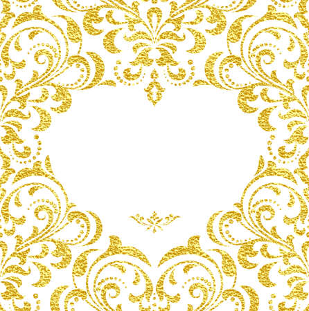 Abstract vector pattern, background. Perfect for invitations or announcements. Postcard to the day of lovers. Gold and white floral ornament.