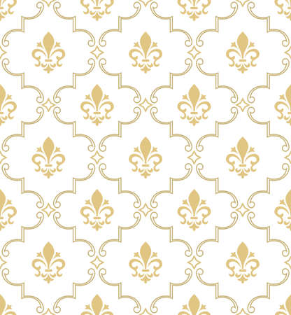 Damask seamless vector pattern. Royal wallpaper. White and gold ornament with royal lily.
