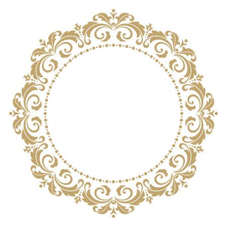 Cornici di arte linea decorativa di vettore per modello di progettazione. Elegante elemento di design in stile orientale, posto per il testo. Bordo floreale contorno dorato. Illustrazione di pizzo per inviti e biglietti di auguri