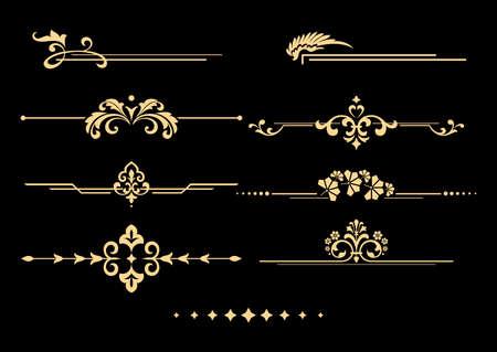 Vintage set of decorative elements. Golden separators on a black background. Vector graphics.