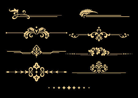 Vintage set of decorative elements. Golden separators on a black background. Vector graphics.