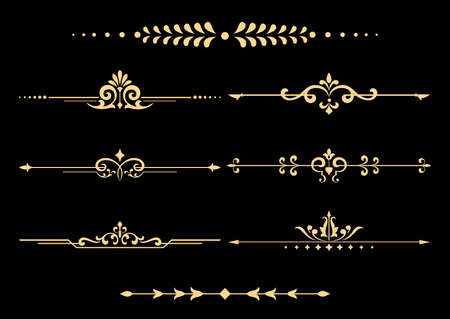 Vintage set of decorative elements. Golden separators on a black background.
