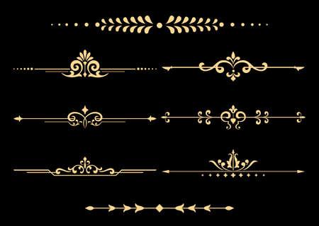Vintage set van decoratieve elementen. Gouden afscheiders op een zwarte achtergrond.