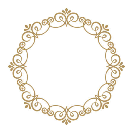 Cadres d'art en ligne décoratifs pour le modèle de conception. Élément de vecteur élégant pour la conception dans le style oriental, place pour le texte. Bordure florale de contour doré. Illustration de dentelle pour les invitations et les cartes de voeux.