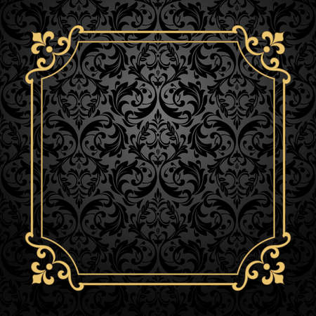 Vintage gold frame on the black background. Damascus antique vector ornament. Seamless abstract floral pattern.