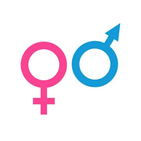 Male and female sex symbols. Venus and Mars. Vector graphic.