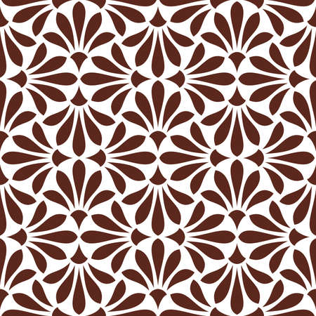 Flower geometric pattern seamless vector background white and brown ornament. Illustration