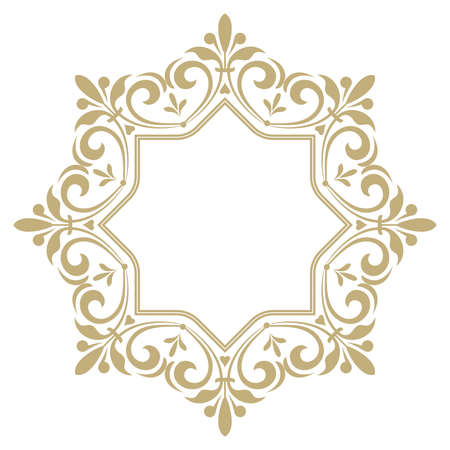 Decorative frame elegant vector element for design in Eastern style, place for text. Golden outline floral border, lace illustration for invitations and greeting cards. Çizim
