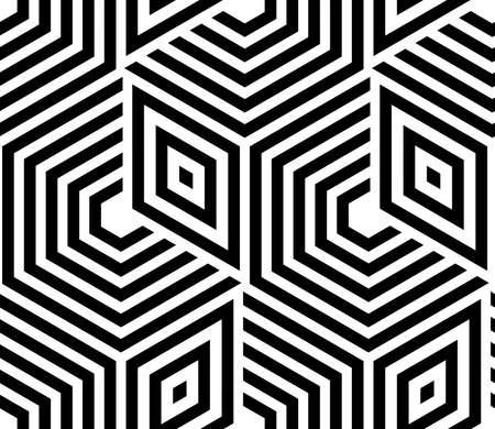 ストライプ、ラインと抽象的な幾何学模様。シームレスなベクター背景。白と黒の装飾  イラスト・ベクター素材
