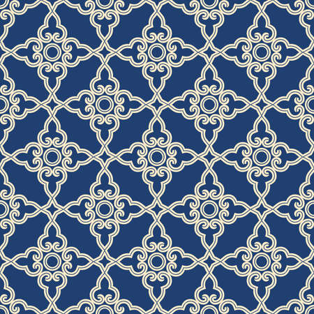 Abstract geometry pattern in Arabian style. Seamless vector background. Blue and grey graphic ornament