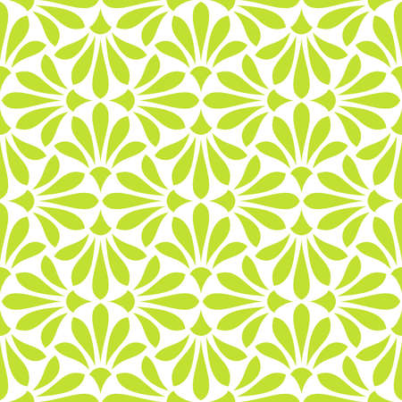 Flower geometric pattern. Seamless vector background. White and green ornament Illustration