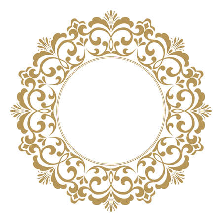 Decorative frame. Elegant vector element for design in Eastern style, place for text. Golden outline floral border. Lace illustration for invitations and greeting cards