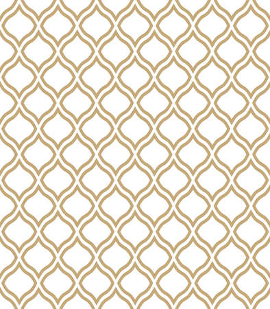 The geometric pattern with wavy lines. Seamless vector background. White and gold texture. Simple lattice graphic design. Illustration
