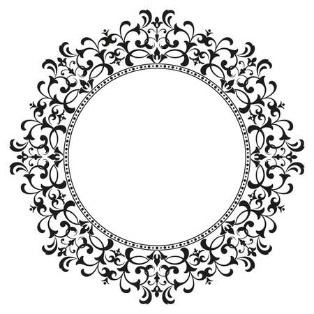 Decorative frame. Elegant vector element for design in Eastern style, place for text. Floral black border. Lace illustration for invitations and greeting cards