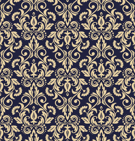 Floral pattern. Vintage wallpaper in the Baroque style. Seamless vector background. Dark blue and gold ornament for fabric, wallpaper, packaging. Ornate Damask flower ornament