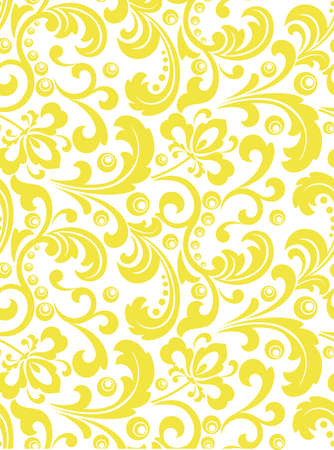 Flower pattern. Seamless white and yellow ornament. Graphic background. Ornament for fabric, wallpaper, packaging. Illustration