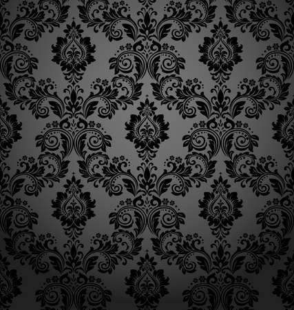 Floral pattern. Vintage wallpaper in the Baroque style. Seamless vector background. Black ornament for fabric, wallpaper, packaging. Ornate Damask flower ornament