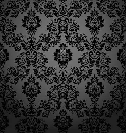 Motivo floreale. Carta da parati vintage in stile barocco. Sfondo vettoriale senza soluzione di continuità. Ornamento nero per tessuto, carta da parati, imballaggi. Ornamento ornato di fiori damascati