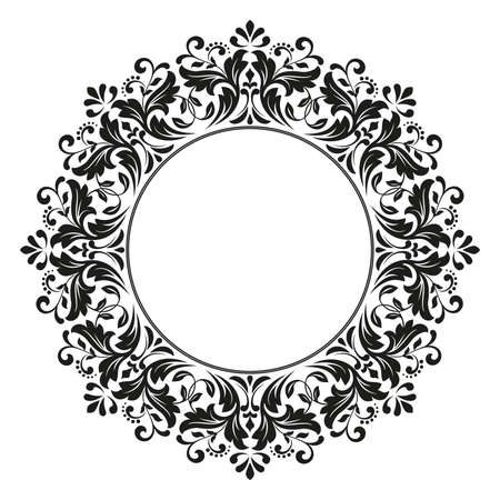Decorative frame. Elegant vector element for design in Eastern style, place for text. Floral black border. Lace illustration for invitations and greeting cards Vettoriali